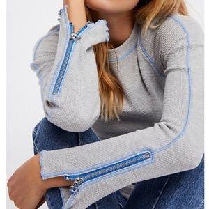 FREE PEOPLE Thermal Zip It Long Sleeve Top